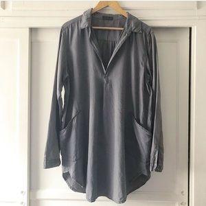 CP Shades gray silk cotton blend tunic w pockets